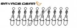 Savage Gear EggSnap Swivel Größe M 38 kg , Wirbel mit Federstahl Einhänger und großem runden Auge