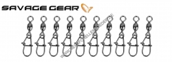 Savage Gear EggSnap Swivel Größe L 45 kg , Wirbel mit Federstahl Einhänger und großem runden Auge